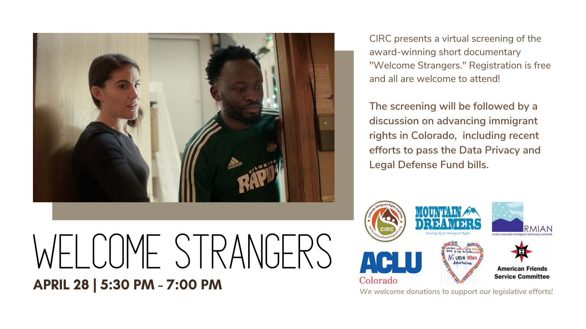 Welcome Strangers Today 5:30 PM - 7:00 PM